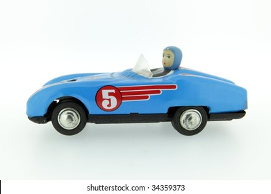 retro race car with number 5 fiver