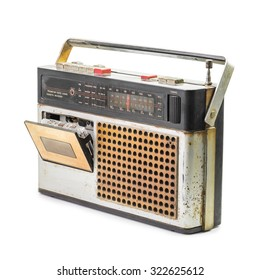 Retro radio and audio cassette player isolated on white background