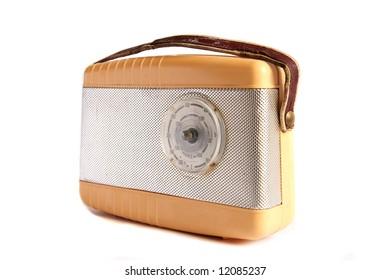 Retro radio isolated against white background