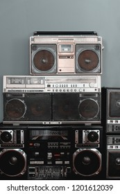 Retro radio on gray background