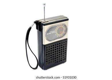 Retro radio on white background