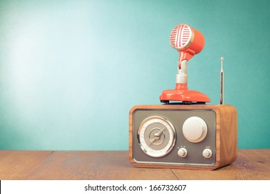 Retro radio, red microphone old style photo