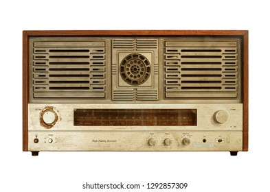 Retro radio (with clipping path) isolated on white background