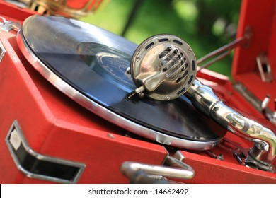 The retro record player in a antiquarian shop