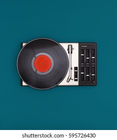 retro record player isolated on colored background