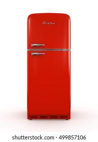 Retro red fridge isolated on white background 3D illustration