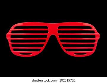 Retro red  shades sunglasses isolated on black background