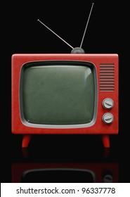 A retro Red TV 3d illustration on black