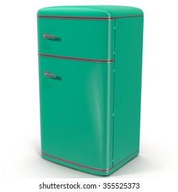 Retro Refrigerator Green on White Background