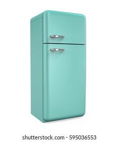 Retro Refrigerator Isolated. 3D rendering