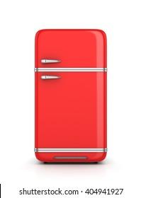 Retro refrigerator isolated on white background. 3d illustration
