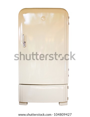 Retro refrigerator isolated on white background
