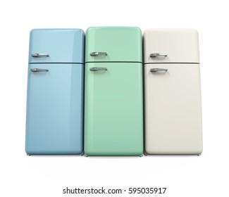 Retro Refrigerators Isolated. 3D rendering