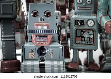 retro robot group macro image