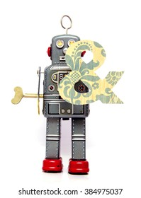 retro robot with the letter  &