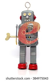 retro robot with the letter  e