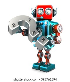 Retro robot with question mark. Isolated over white. Contains clipping path. 3D