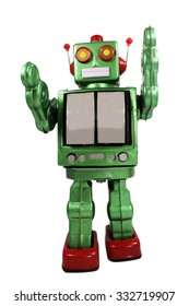 retro robot toy on white background
