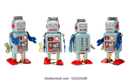 retro robot toys on white with clipping path