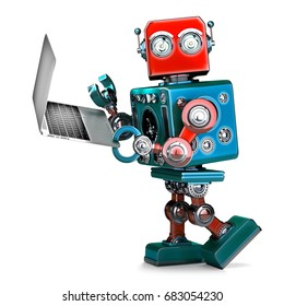 Retro Robot using laptop. 3D illustration. Isolated. Contains clipping path.