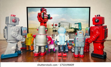 retro robots watch the TV News police brutality