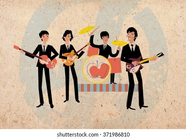 Retro rock band musicians playing guitars and drum. Beatles illustration