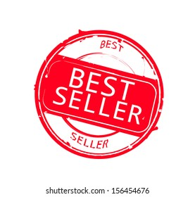 "Retro round red rubber stamp  ""Best seller"""