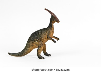 Retro Rubber Model Parasaurolophus Dinosaur on White Background