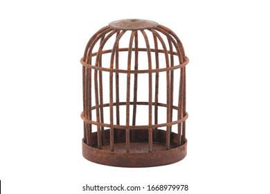 Retro rusty cage isolated on white background with clipping path