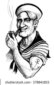 Retro sailor with smoking pipe