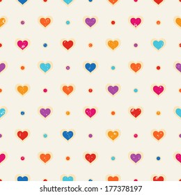 Retro seamless pattern. Color hearts and dots on beige textured background