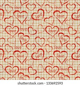 Retro seamless pattern with hearts paper texture