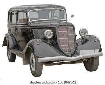 Retro (second world war period) car isolated on white