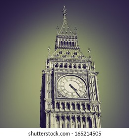 Retro sepia Big Ben Houses of Parliament Westminster Palace London gothic architecture - over blue sky background