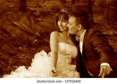 retro sepia photo, just married couple newlyweds on green background large portrait of redheaded girl