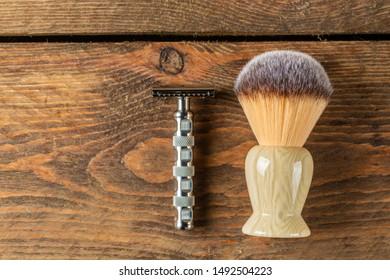 retro shaving kits for men on wooden background