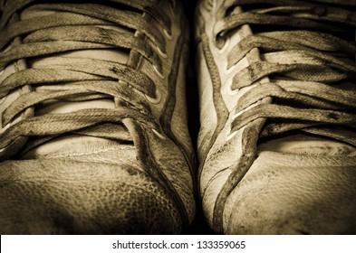 Retro shoes close up