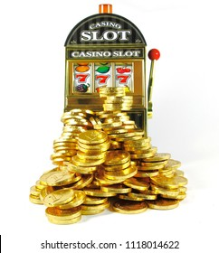 retro slot machine with 777 and lots of gold for winnings