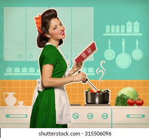 Retro smiling woman cooking and reading recipe book in her kitchen room on old paper