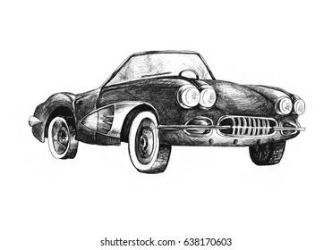 Retro sport car  cabriolet ink drawing