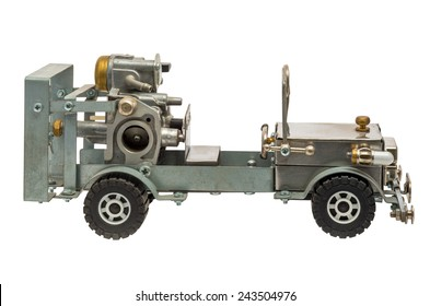 Retro steampunk car. Cyberpunk style. Chrome and bronze parts. Isolated on white background.