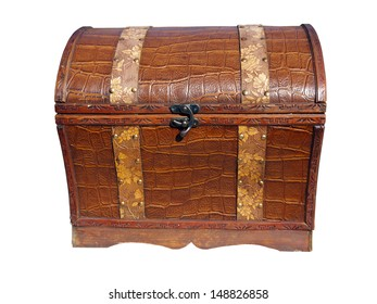 Retro stile chest from wood and imitation leather