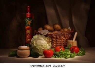Retro still life with vegetables