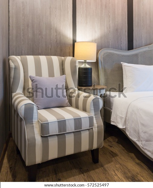 Retro Style Bedroom Stripped Arm Chair Stock Photo (Edit Now ...
