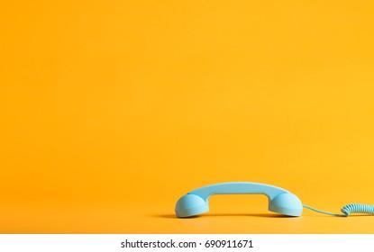 Retro style blue telephone handset