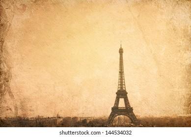 retro style The Eiffel Tower