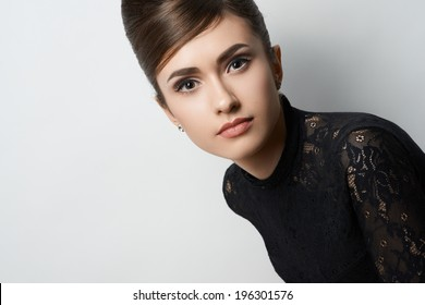 retro style girl in black clothes on a white background