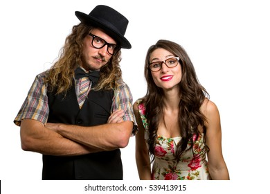 Retro style girlfriend and boyfriend couple bizarre silly style full of personality