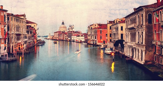 Retro style image of Grand canal at sunset, Venice, Italy