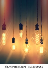 Retro style image of industrial light bulbs. Design with vintage feel.